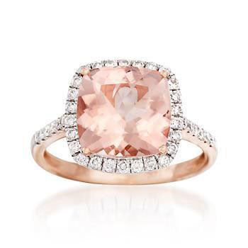 3.20 Carat Morganite and .38 ct. t.w. Diamond Ring in 14kt Rose Gold, , Heaven Culture Jewelry