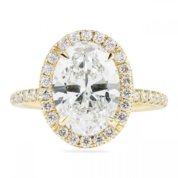 3.48 Total Carat Oval Moissanite and Diamond Heaven Culture Ring, Diamond Heaven Culture Halo Ring, Eversmart Beauty