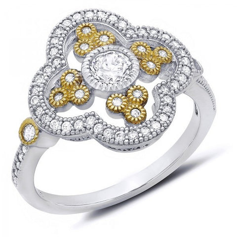 Gold & Platinum Plated Swarovski® Diamond Ring, Swarovski Rings, Heaven Culture Jewelry