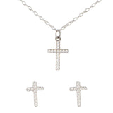 14K White Gold Pave Diamond Cross Pendant Necklace & Diamond Stud Earrings Set, Heaven Culture Necklace + Earrings Set, Eversmart Beauty