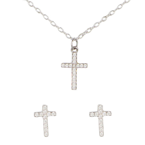 14K White Gold Pave Diamond Cross Pendant Necklace & Diamond Stud Earrings Set, Heaven Culture Necklace + Earrings Set, Heaven Culture Jewelry