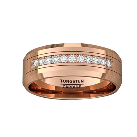 8mm Rose Gold Tungsten Carbide Ring Cubic Zircon Mens Wedding Comfort Fit, Tungsten Ring, Heaven Culture Jewelry