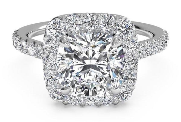 4.04 Total Carat French Pave Cushion Halo Ring, Halo Engagement Diamond Ring, Eversmart Beauty