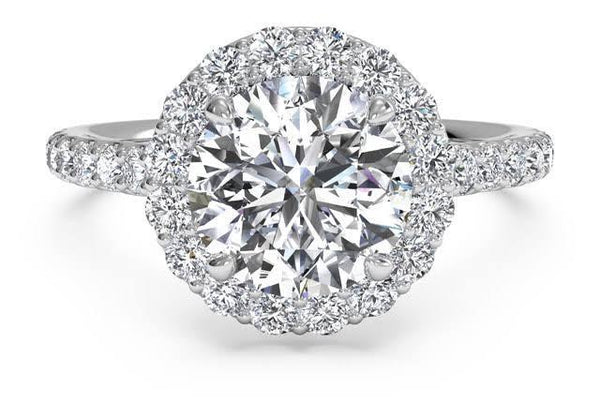 4.06 Total Carat Round Moissanite and Diamond Ring, Diamond Halo Engagement Ring, Heaven Culture Jewelry