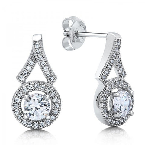 Swarovski® Diamond Halo Drop Stud Earrings