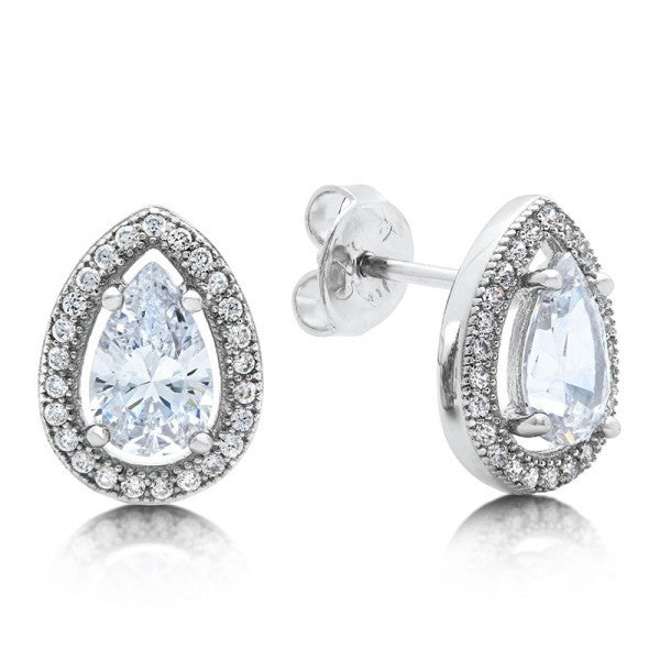 Swarovski® Diamond Tear Drop Stud Earrings