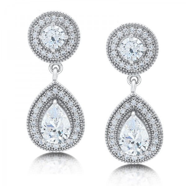 Swarovski® Diamond 2-Stone Tear Drop Earrings, Swarovski Earrings, Eversmart Beauty