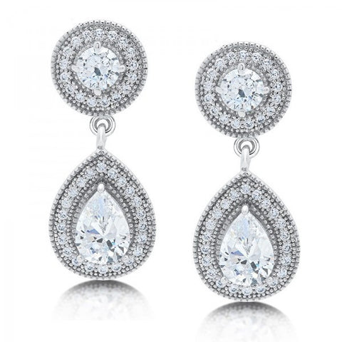 Swarovski® Diamond 2-Stone Tear Drop Earrings, Swarovski Earrings, Heaven Culture Jewelry