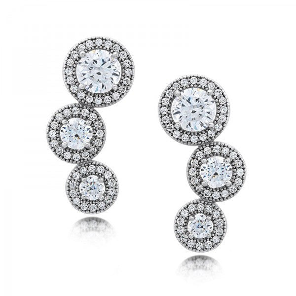 Swarovski® Diamond Halo 3-Stone Stud Earrings