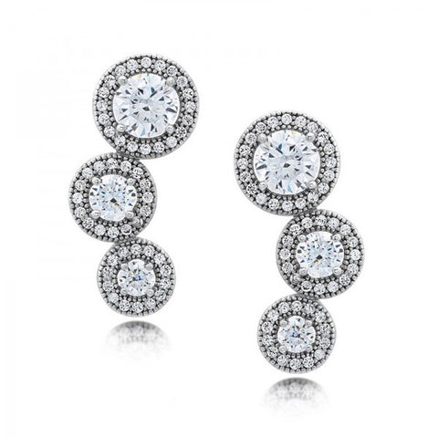 Swarovski® Diamond Halo 3-Stone Stud Earrings, Swarovski Earrings, Heaven Culture Jewelry