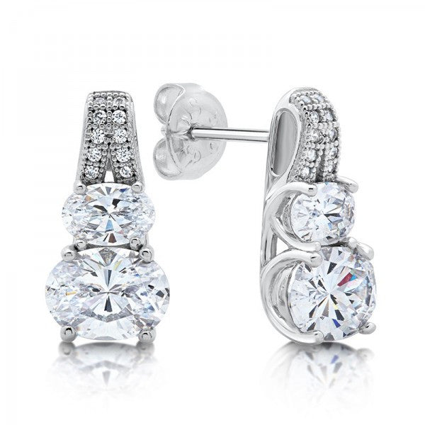 Swarovski® Diamond 2-Stone Stud Earrings, Swarovski Earrings, Heaven Culture Jewelry