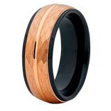 8mm Brushed Rose Gold Hammered Tungsten Carbide Wedding Ring Center Groove Black Unique Edges Inlay Band Unisex, Tungsten Ring, Eversmart Beauty