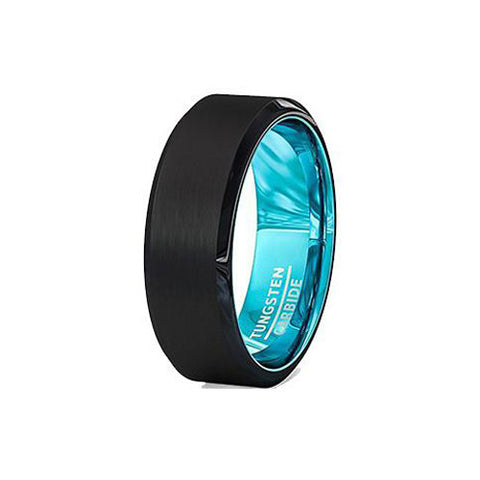 Aqua Turquoise and Black 8mm Tungsten Wedding Ring, Tungsten Ring, Heaven Culture Jewelry