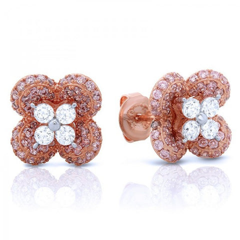 Rose Gold Swarovski® Diamond Stud Earrings, Swarovski Earrings, Heaven Culture Jewelry