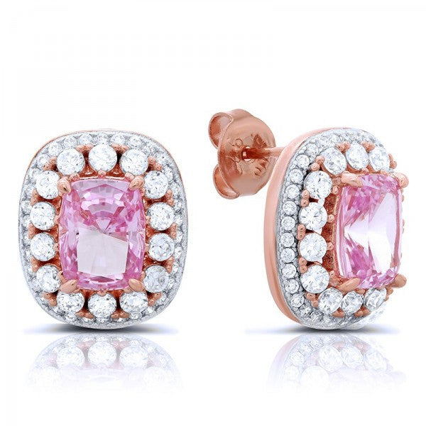 Swarovski® Diamond Pink Halo Stud Earrings