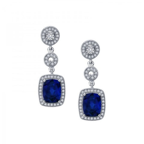 Sapphire and Swarovski® Diamond Heaven's Royalty 3-Part Earrings, Swarovski Earrings, Heaven Culture Jewelry