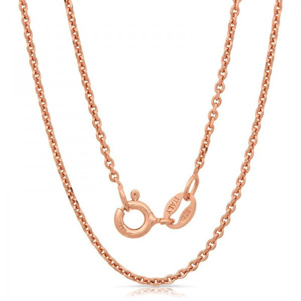 Lightweight Italian Silver Chain With Rose Gold Plating., Swarovski Chains, Eversmart Beauty