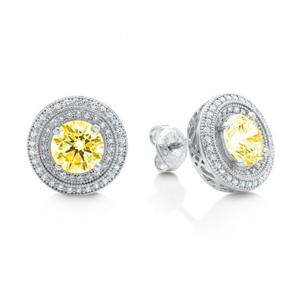 Yellow Swarovski® Diamond Earrings, Swarovski Earings, Heaven Culture Jewelry