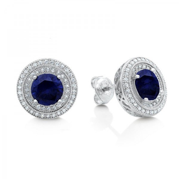 Swarovski® Diamond and Sapphire Stud Earrings