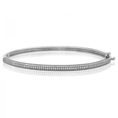 Swarovski® Diamond Sterling Silver Bonded Platinum Plating Bangle, Swarovski Bangles, Heaven Culture Jewelry
