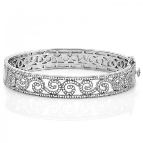 Ladies Simulated Diamond Sterling Silver Bonded Platinum Plating Bangle, Swarovski Bangles, Heaven Culture Jewelry