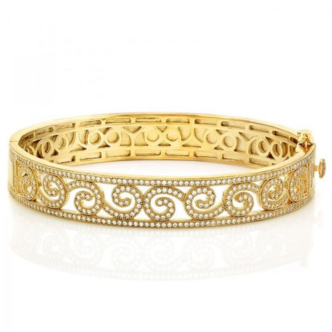 Ladies Simulated Diamond Sterling Silver Bonded With 18k Gold Micron Plating Bangle, Swarovski Bangles, Eversmart Beauty