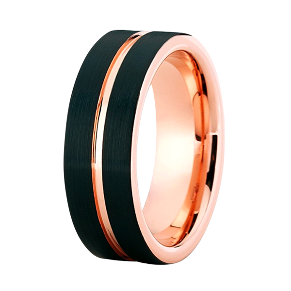 8mm Rose Gold Tungsten Carbide Wedding Ring Black Grooved Comfort Fit Band Mens Womens Unisex, Tungsten Ring, Eversmart Beauty