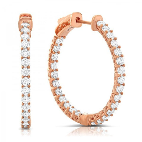 Rose Gold Swarovski® Diamond Hoop Earrings, Swarovski Earrings, Heaven Culture Jewelry