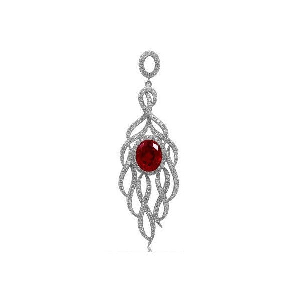Swarovski® Diamond and Ruby Necklace, Swarovski Necklace, Heaven Culture Jewelry