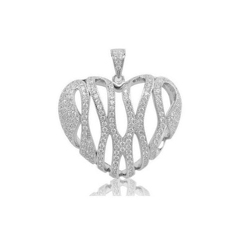 Swarovski® Platinum Heart Shaped Pave Pendant, Swarovski Pendants, Heaven Culture Jewelry