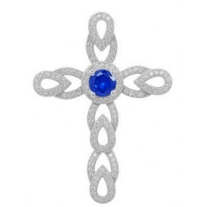 Swarovski® Diamond and Sapphire Heaven's Royalty Cross Necklace (with Chain), , Heaven Culture Jewelry