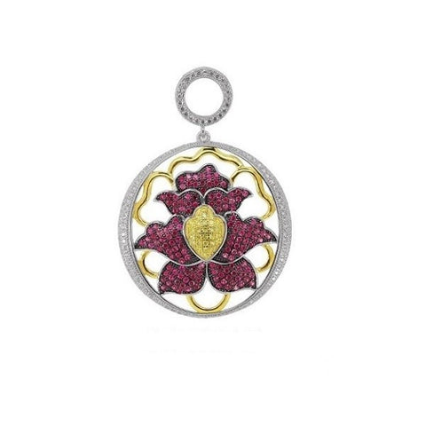 Swarovski® Diamond and Ruby Flower Necklace, Swarovski Pendants, Heaven Culture Jewelry