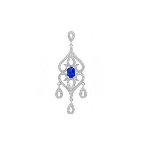 Swarovski® Diamond and Sapphire Necklace, Swarovski Pendants, Heaven Culture Jewelry