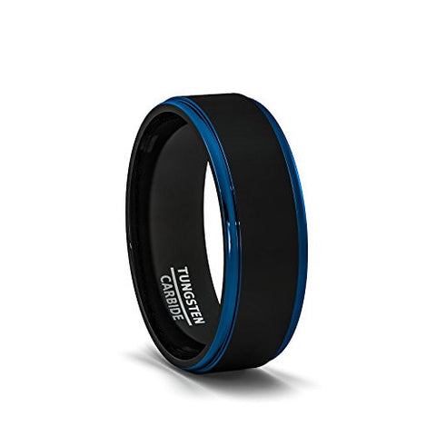 Mens Wedding Band Two Tone Black Tungsten Ring 8mm Blue Sides Step Edge Comfort Fit, Tungsten Ring, Heaven Culture Jewelry
