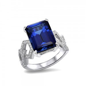 Swarovski® Diamond and Sapphire Ring, , Heaven Culture Jewelry