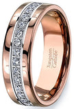 Rose Gold and Cubic Zircon Tungsten Ring, , Eversmart Beauty