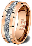 Rose Gold and Cubic Zircon Tungsten Ring, Tungsten Ring, Heaven Culture Jewelry