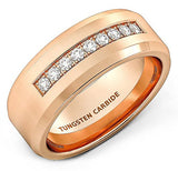 Rose Gold Cubic Zircon Tungsten Ring, Tungsten Ring, Heaven Culture Jewelry