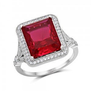 Swarovski® Diamond and Ruby Affordable Engagement Ring, , Eversmart Beauty