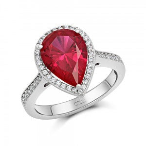 Swarovski® Diamond and Ruby Pear Engagement Ring, , Heaven Culture Jewelry