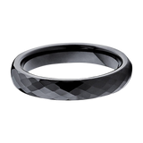4mm Black Diamond Cut Tungsten Carbide Ring Men & Women Comfort Fit, Tungsten Ring, Heaven Culture Jewelry