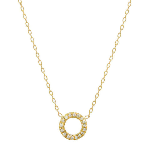 Circle Diamond and 14K Gold Necklace, , Heaven Culture Jewelry