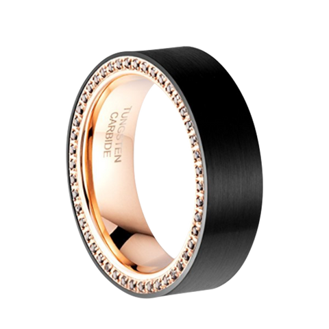 8mm Black Brushed Rose Gold Tungsten Ring with Black Cubic Zirconia Channel, Tungsten Ring, Eversmart Beauty