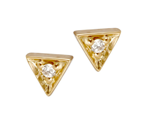 14K Gold Diamond Center Trinity Stud Earrings, Trinity Diamond Earrings, Eversmart Beauty