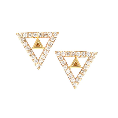 Diamond Lined 14K Trinity Stud Earrings, Trinity Diamond Earrings, Heaven Culture Jewelry