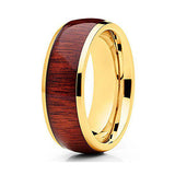 8mm Titanium Wedding Band Koa Wood Unique Yellow Gold Coating Ring Comfort Fit Men Women, Tungsten Ring, Heaven Culture Jewelry