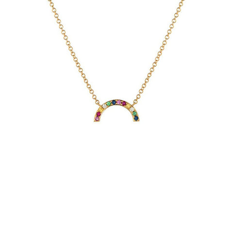 14K Gold Rainbow Necklace, Heaven Culture Trinity Necklace, Heaven Culture Jewelry