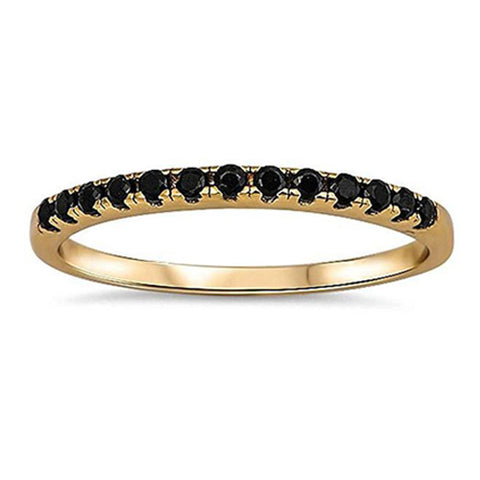 Yellow Gold Plated Black Onyx Eternity Band .925 Sterling Silver Ring
