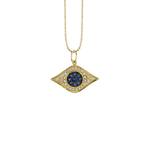 14K Gold & Diamond God's Eye Necklace, Heaven Culture Trinity Necklace, Eversmart Beauty