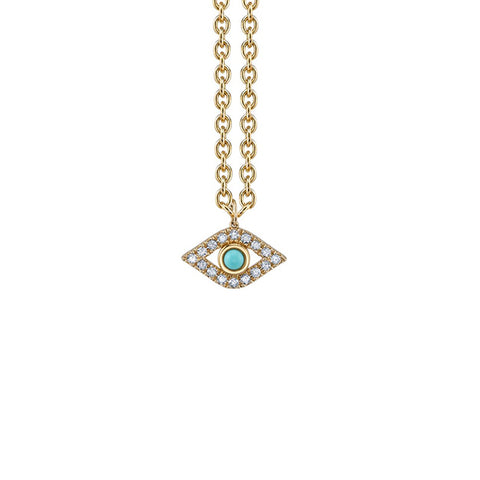 14K Gold Rainbow & Turquoise Extra Large Bezel God's Eye Necklace, Heaven Culture Trinity Necklace, Eversmart Beauty